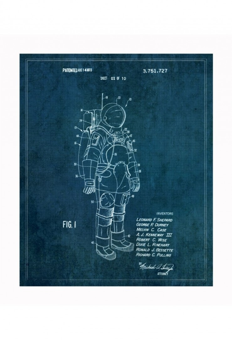spacesuit blueprints 740x1081 Vintage Patent Application Posters