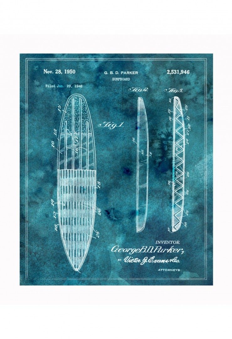 surfboard blueprints 740x1081 Vintage Patent Application Posters