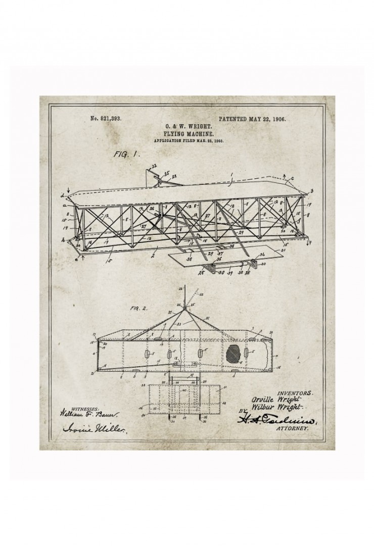 wright flyer blueprints 740x1081 Vintage Patent Application Posters