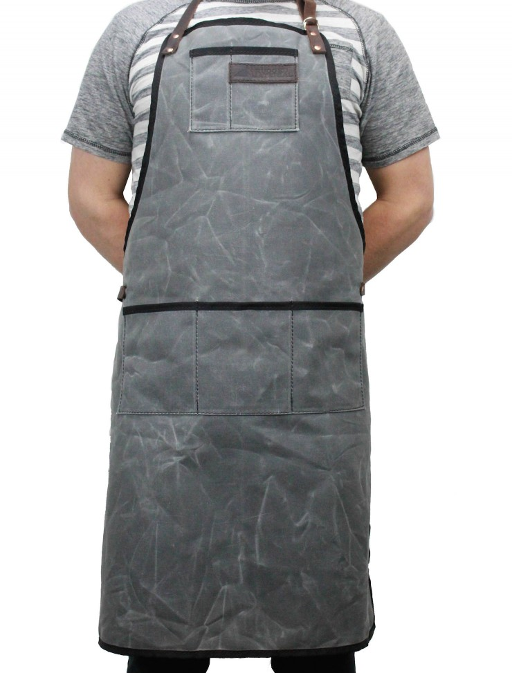 RuggedMaterial_WaxedCanvas_leather_shop_apron_charcoal_empty