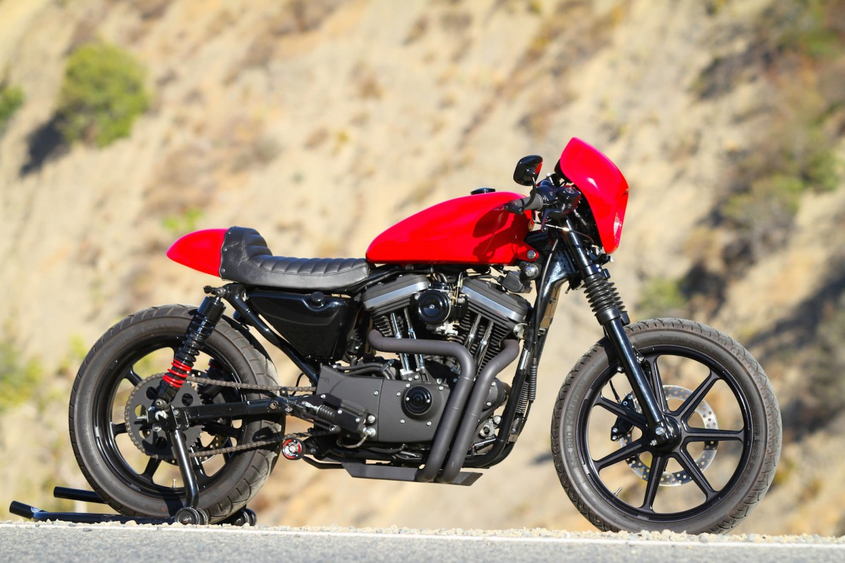 Red Harley Davidson Sportster Cafe Racer By Burly Brand