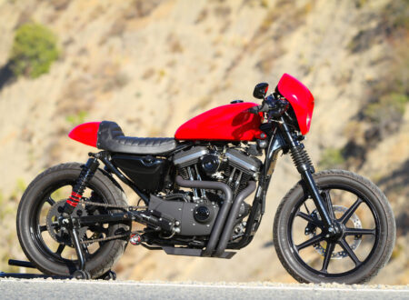 harley davidson sportster cafe racer main 450x330 - Red Harley-Davidson Sportster Cafe Racer by Burly Brand