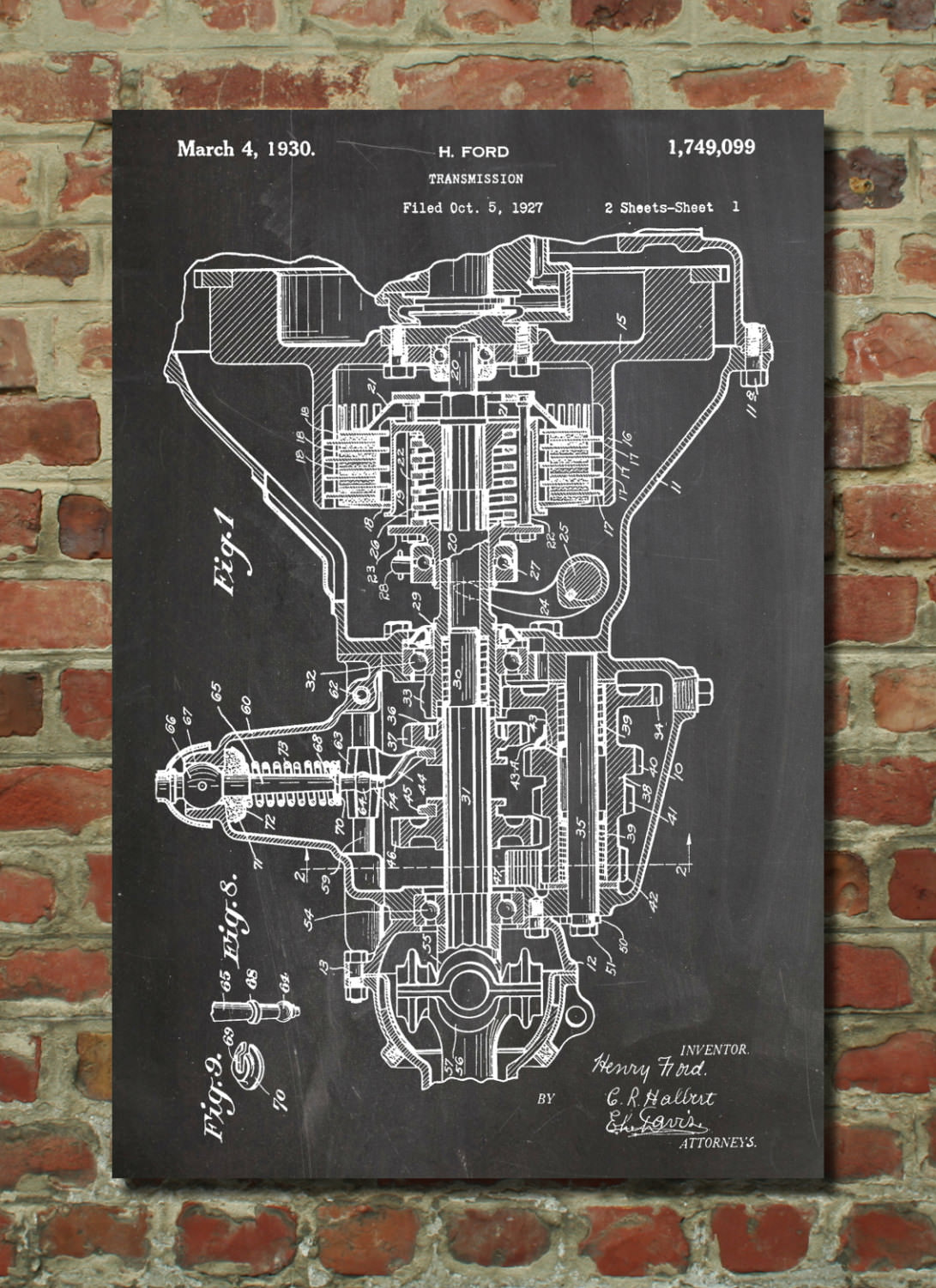 Henry Ford Transmission Patent Poster