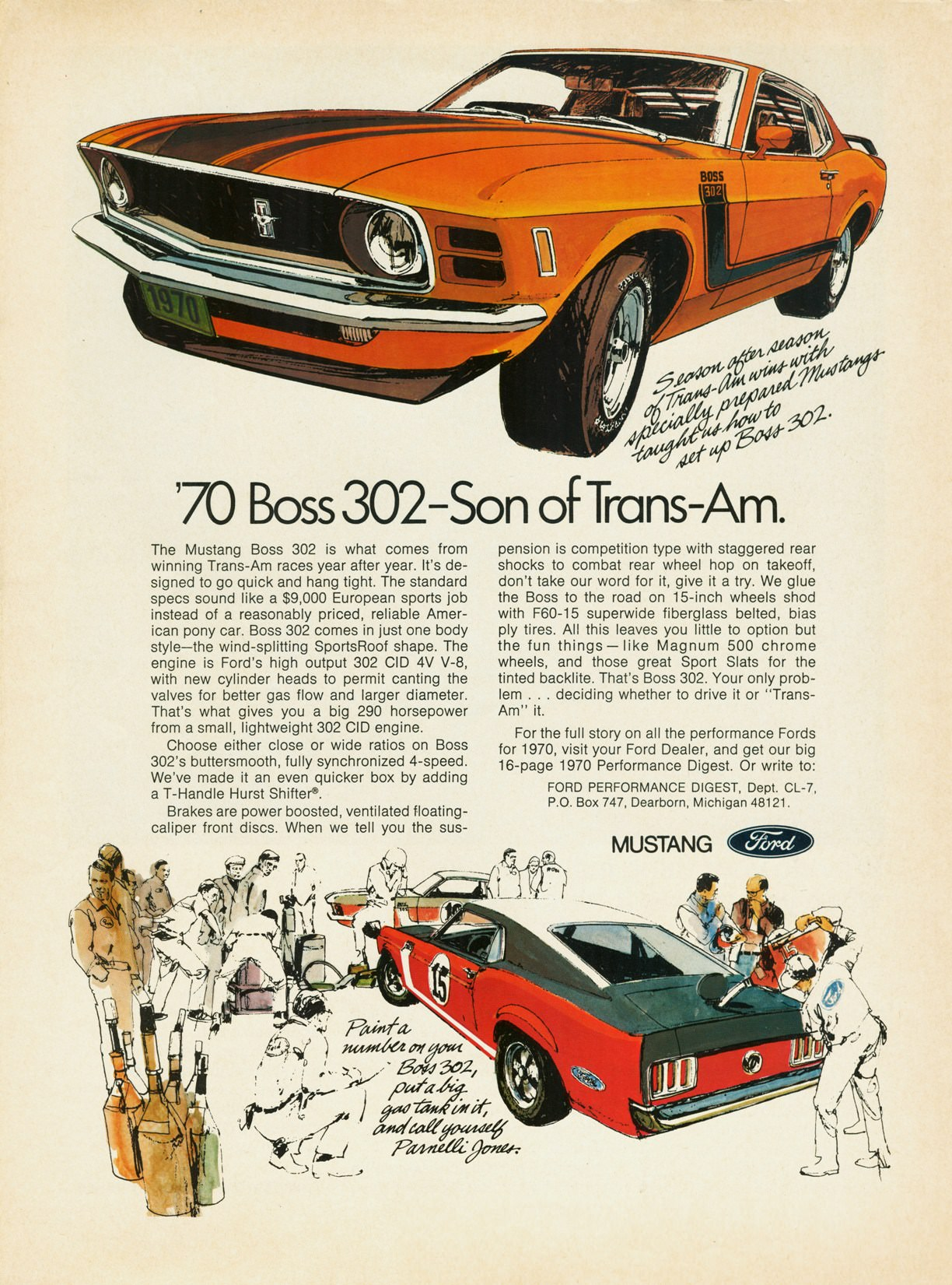 1970 Mustang 302 Poster