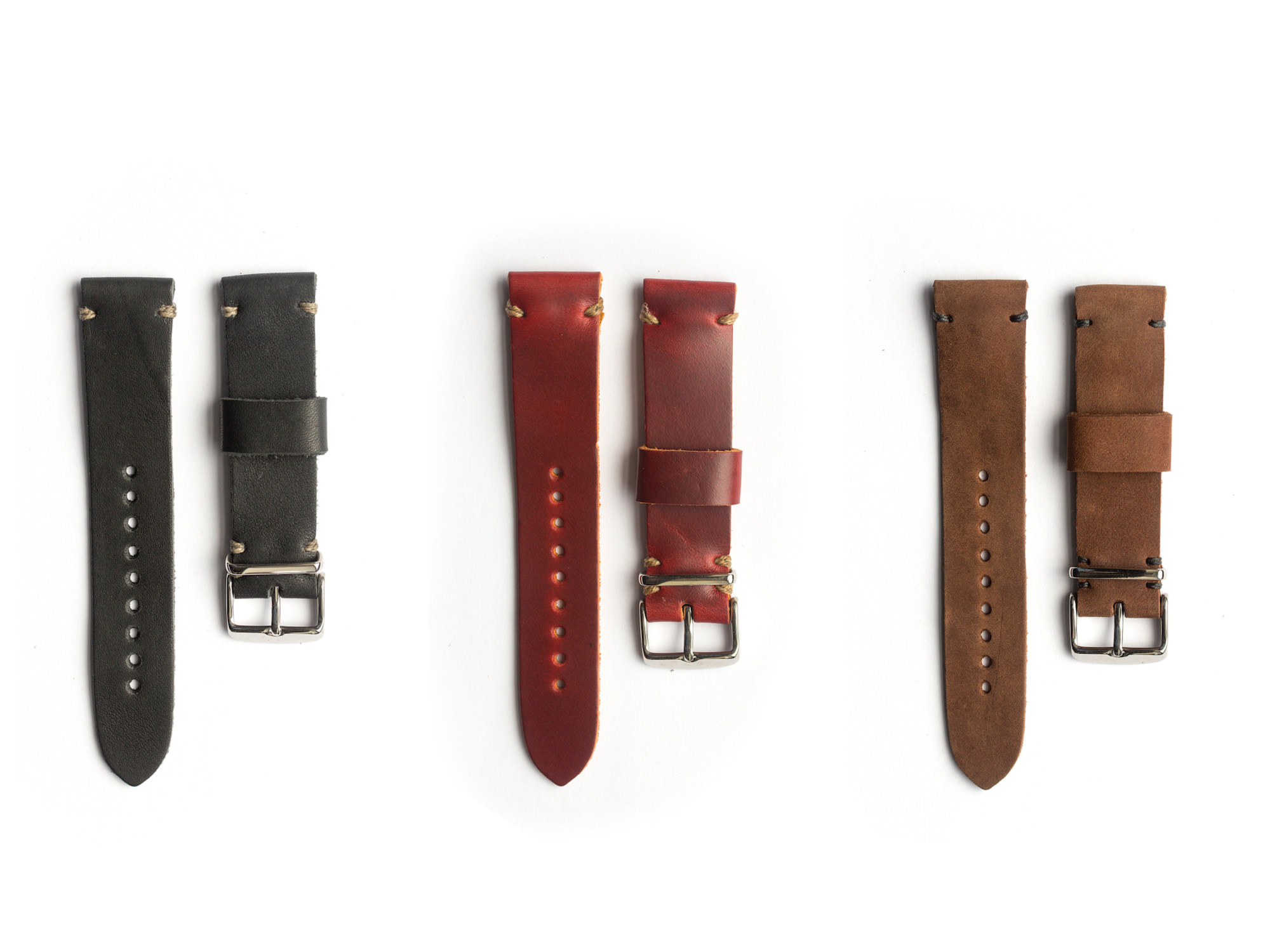 Horween leather watch strap by worn wound for Violet leather strap watch