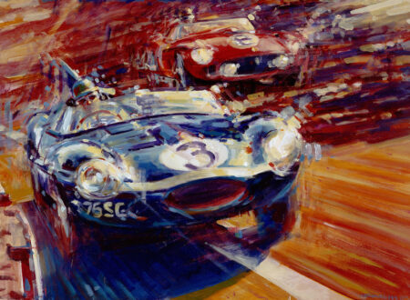 Jaguar D Type Le Mans 450x330 - Automotive Art by Andrew McGeachy