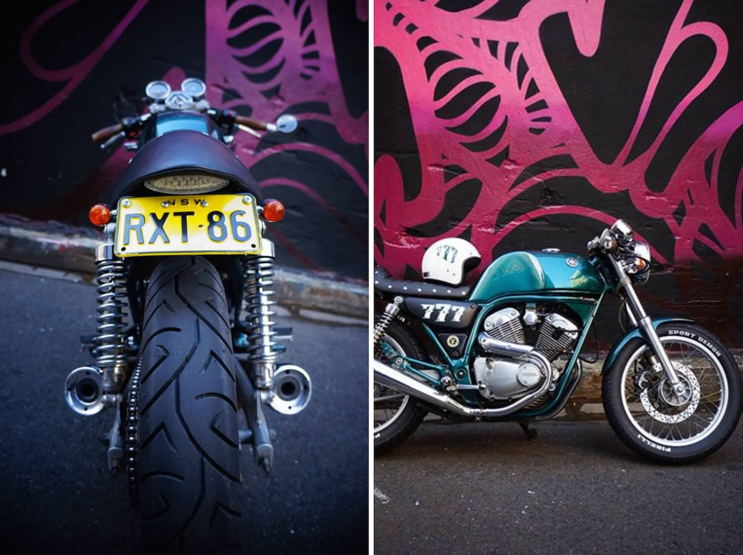Yamaha SRV250 café racer Collage 2