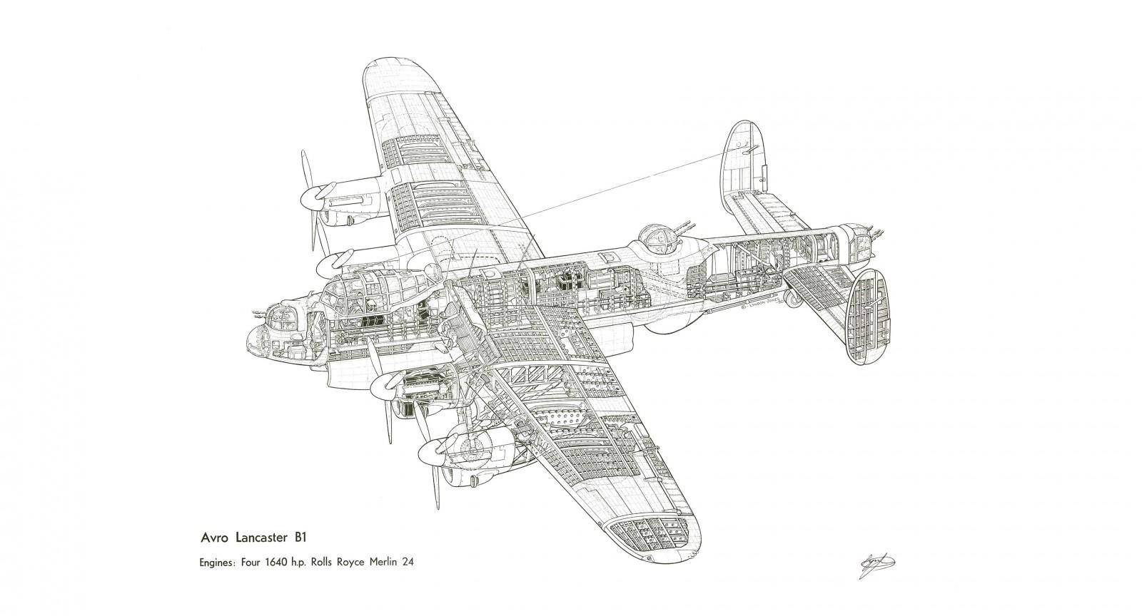 Avro Lancaster Cutaway 1600x864 - Avro Lancaster Cutaway Wallpaper