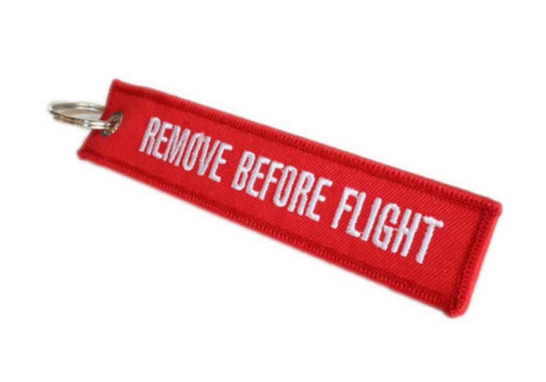 Remove Before Flight Key Chain E on Remove Before Flight Key Tag