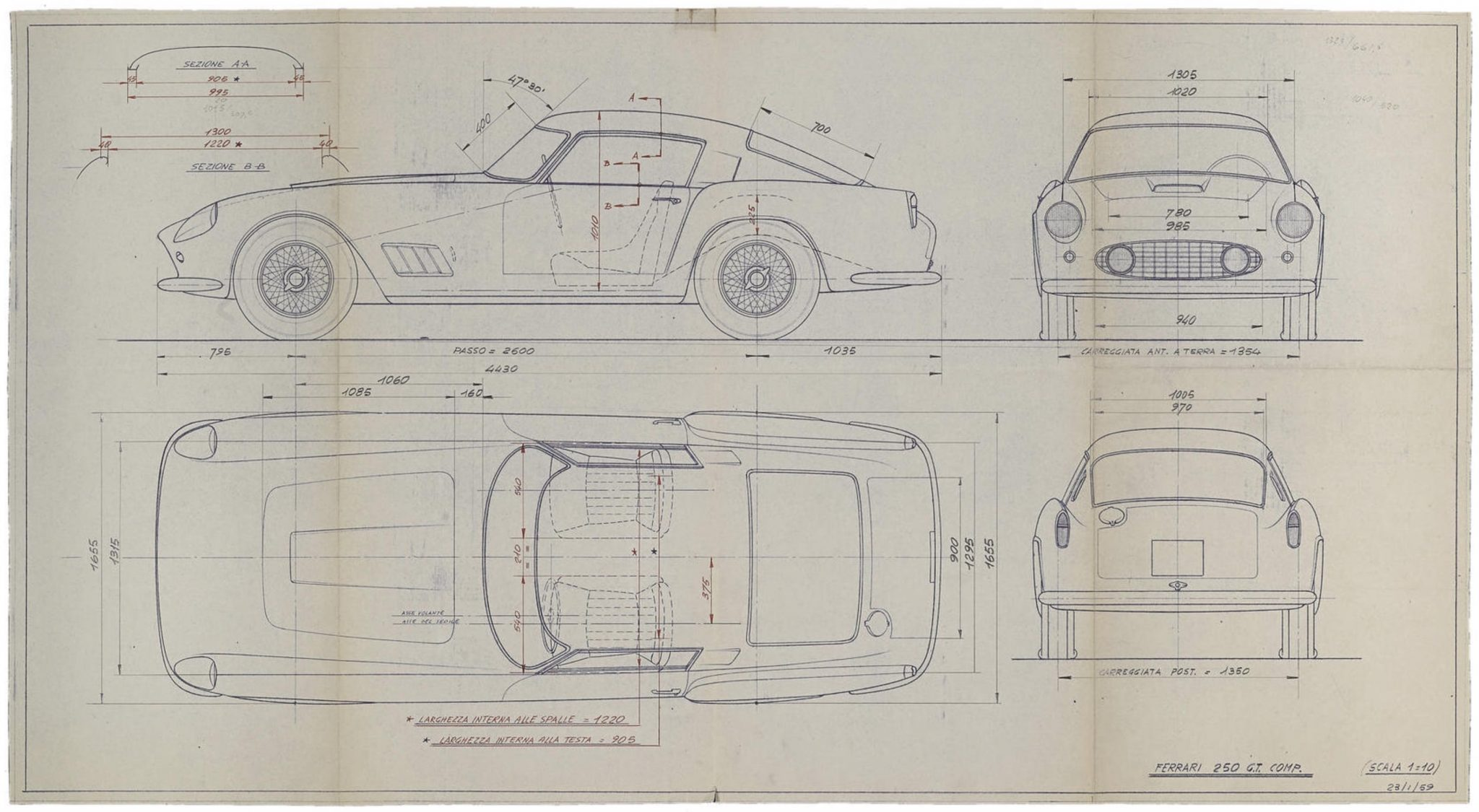 Original ferrari blueprints ferrari blueprint malvernweather Gallery