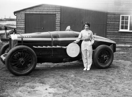 Kay Petre poses with her Delage May 1935 450x330 - The Lady Racing Drivers of Brooklands