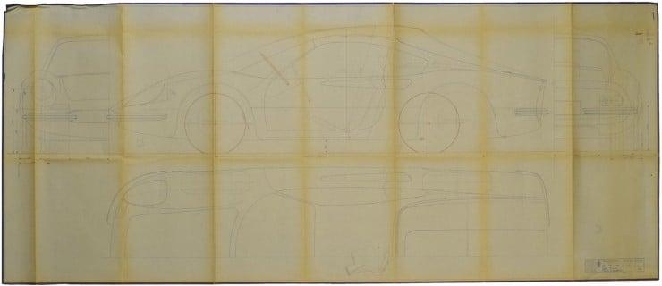 Dino Ferrari 206 GT Pininfarina studio blueprint