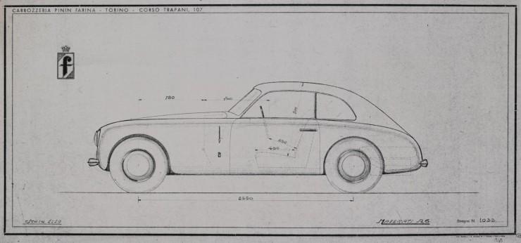 Maserati A6 Pininfarina studio blueprint