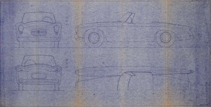 Nash Healey Pininfarina studio blueprint
