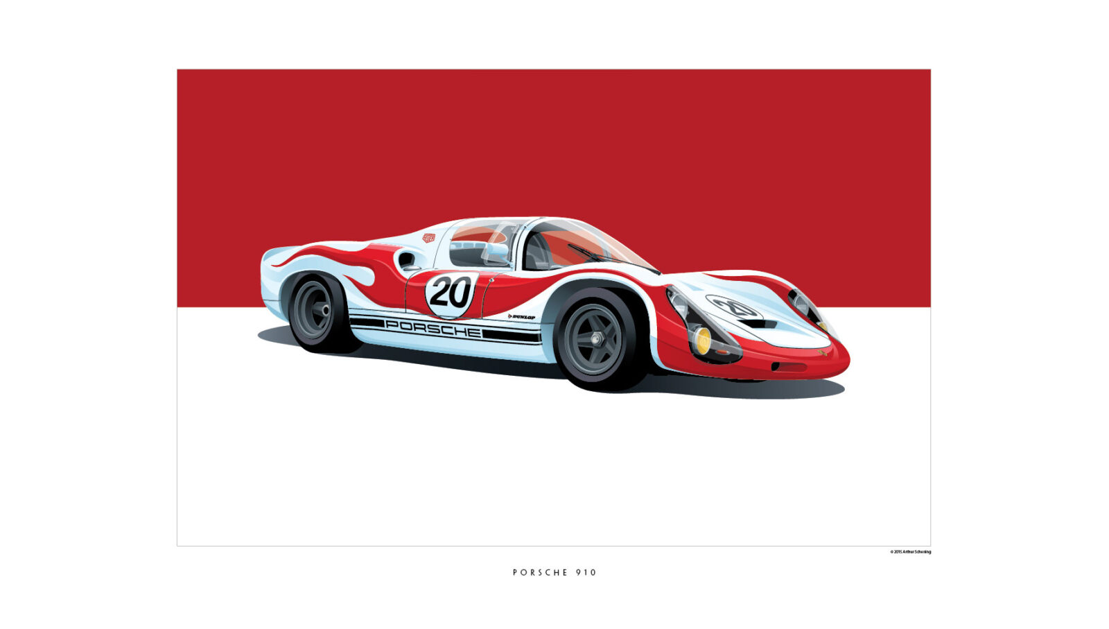Porsche 910 1600x907 - Iconic Racing Car Posters by Arthur Schening