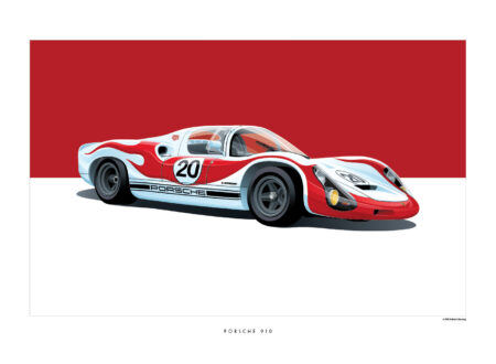 Porsche 910 450x330 - Iconic Racing Car Posters by Arthur Schening