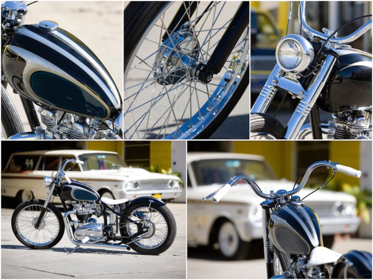 Mooneyes Triumph Bobber Motorcycle Collage