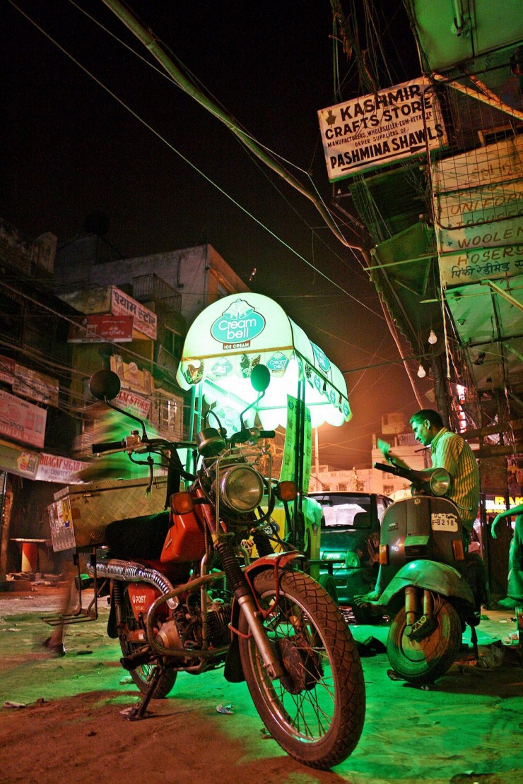 46. Nightime in downtown Delhi, India