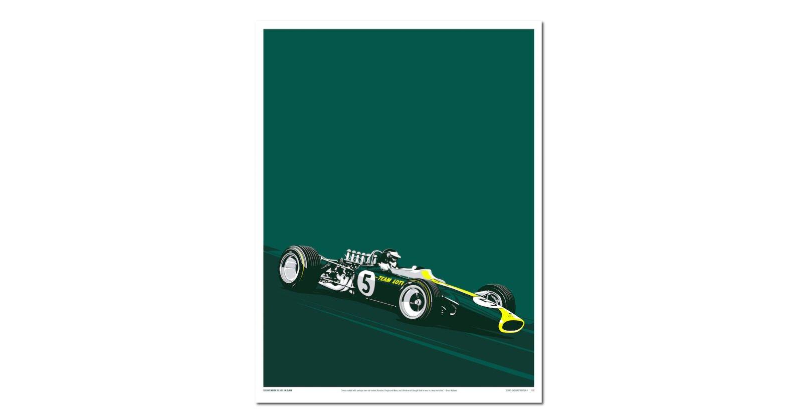 Jim Clark 1600x834 - Jim Clark's Lotus 49: Screen Print Poster