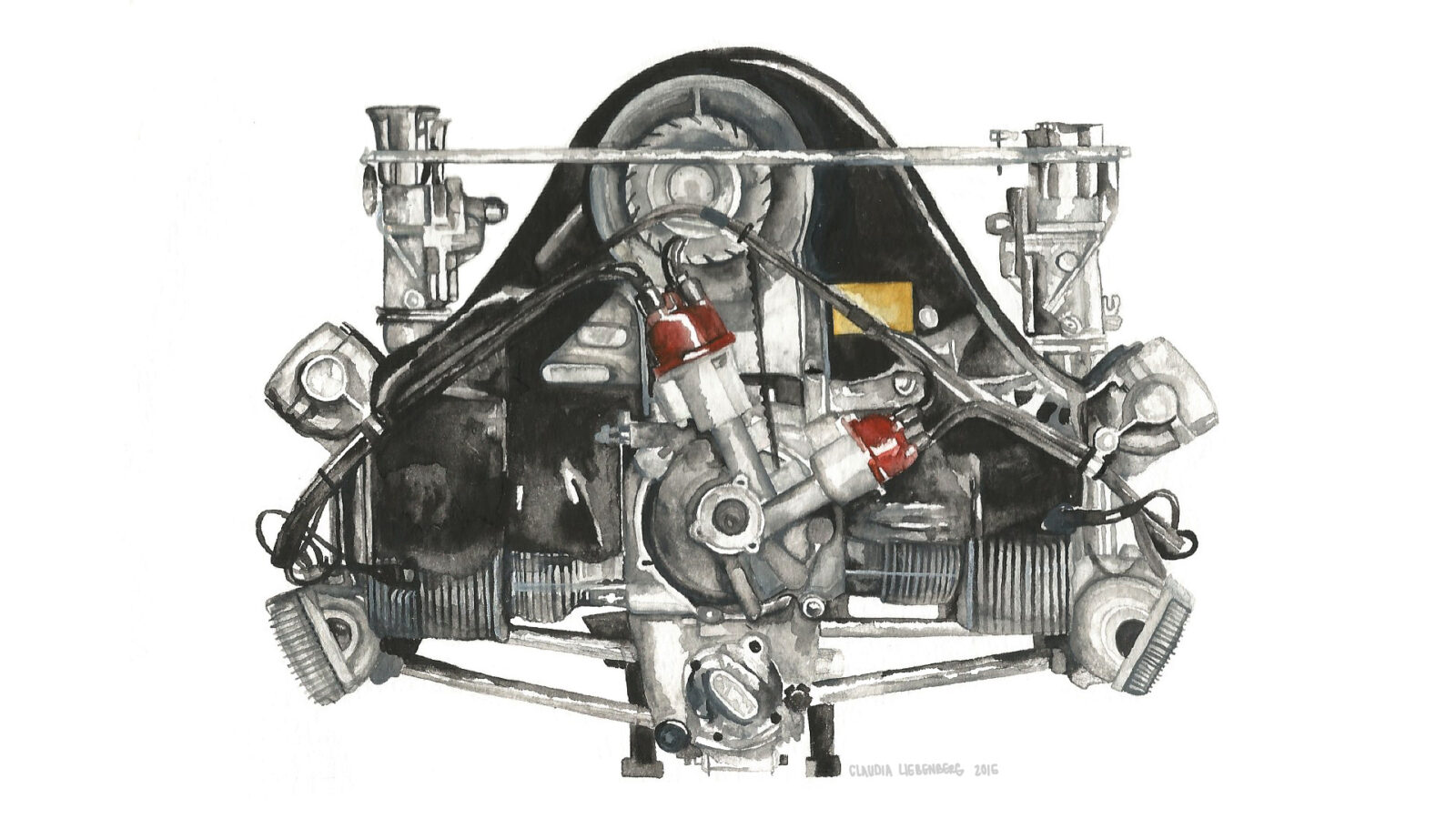 Porsche Engine Art 1600x900 - Porsche 356 by Claudia Liebenberg