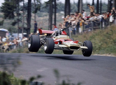 Graham Hill driving the Lotus 49 in 1969