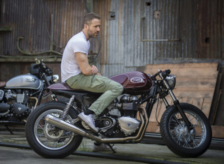 Ryan Reynolds Triumph Thruxton Cafe Racer 450x330