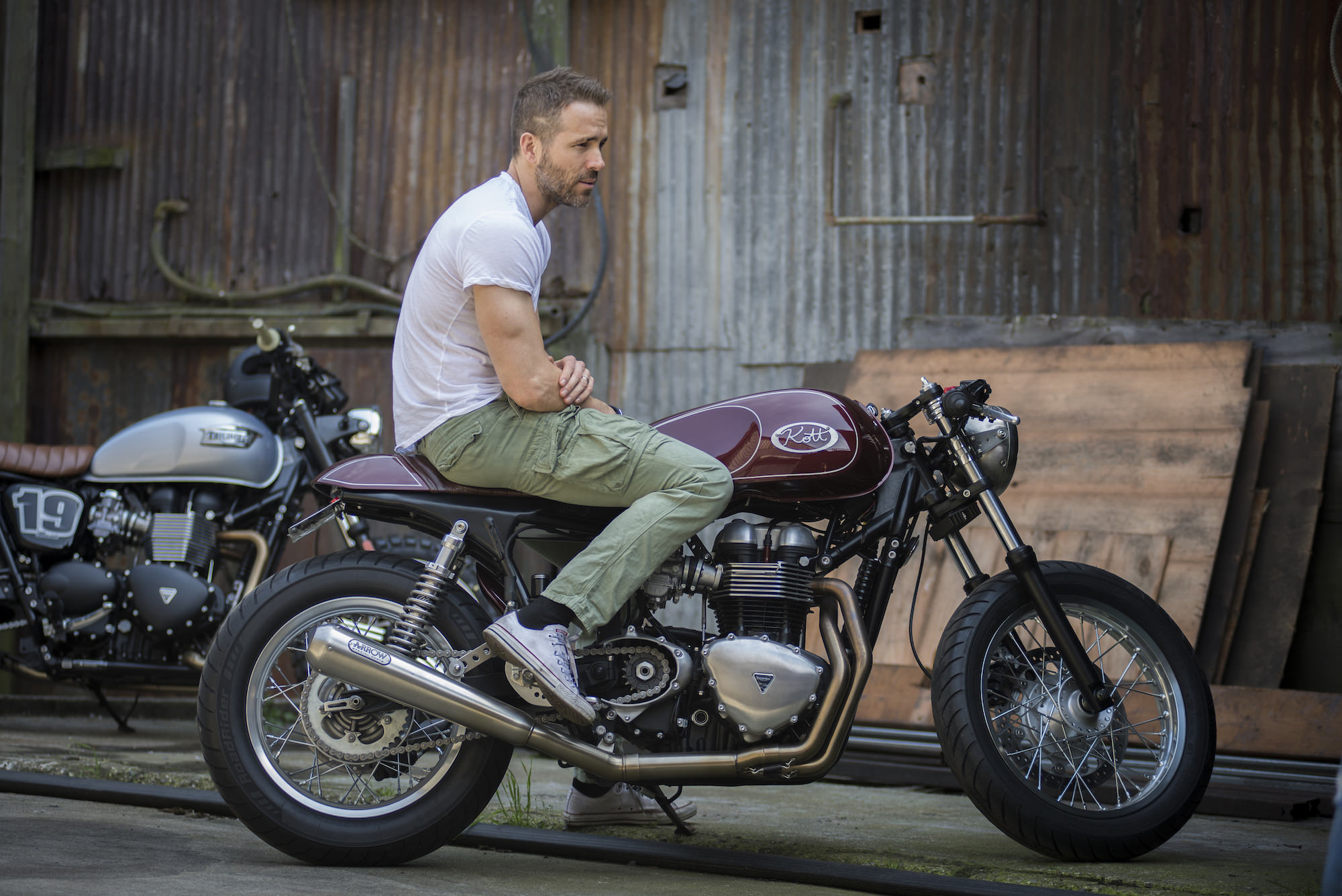 Ryan Reynolds Triumph Thruxton Cafe Racer