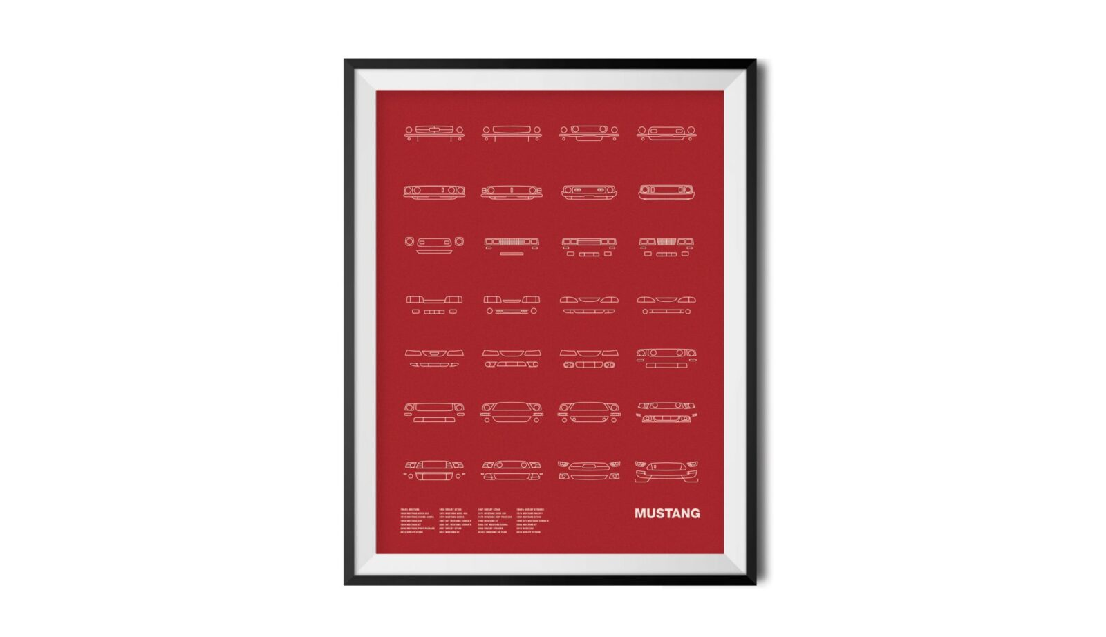 Mustang Red Framed 1600x922 - Auto Icon Screen Print Series