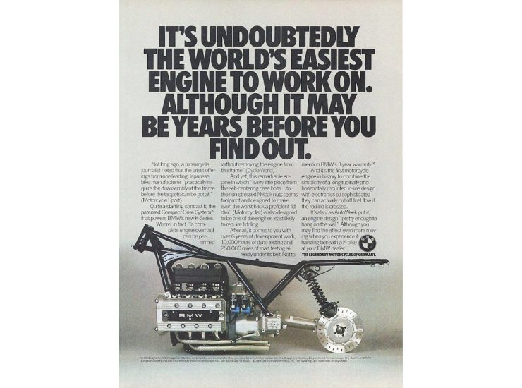 BMW K100 Motorcycle Advertisement