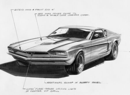 1967 Ford Mustang Mach 1 concept car sketch 450x330