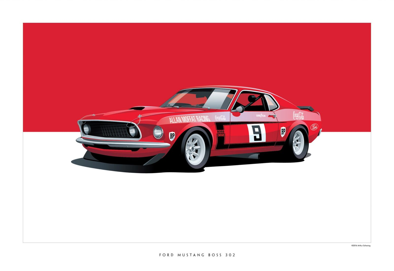 Mustang BOSS 302 1600x1101 - Iconic Racing Cars by Arthur Schening