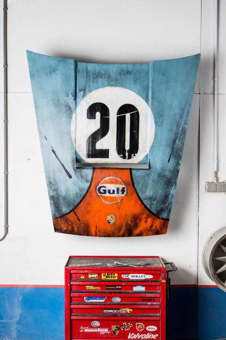 After The Race Porsche Hood Art 740x1110 - Gulf Porsche Hood Art by After The Race