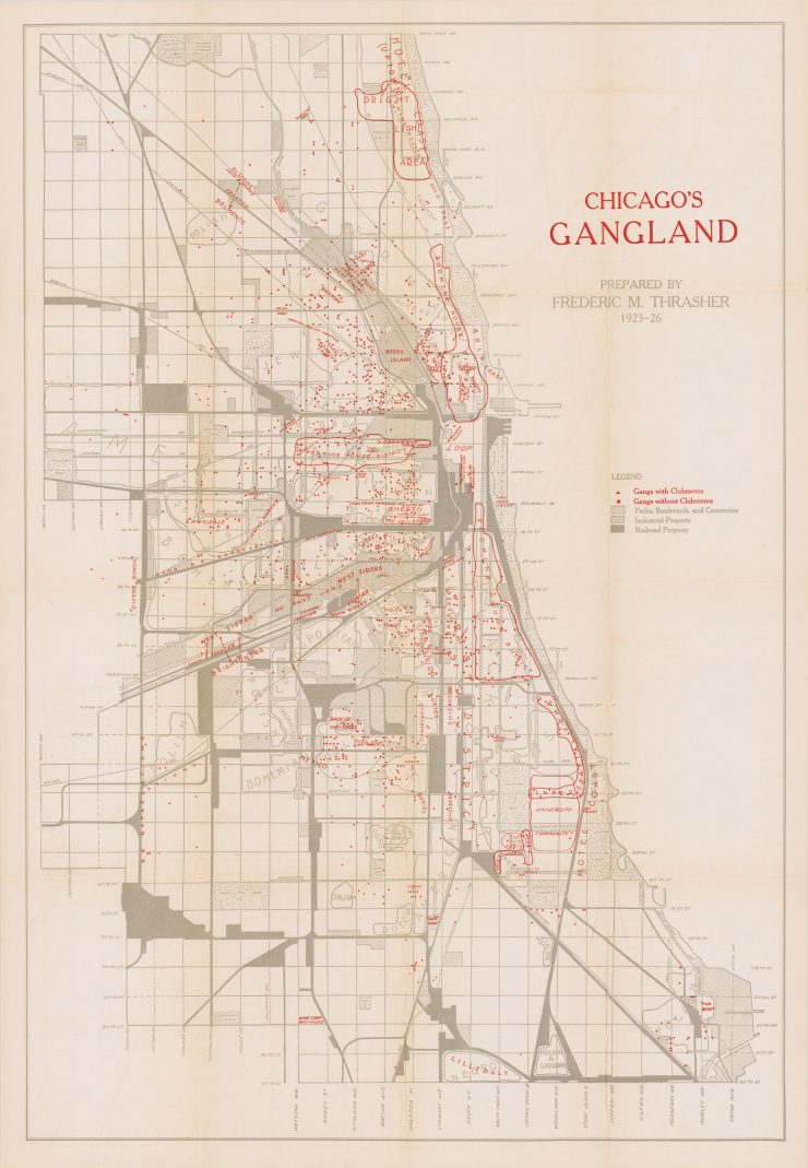 Chicago's Gangland Map Main 740x1069 - Chicago's Gangland Map - Circa 1927