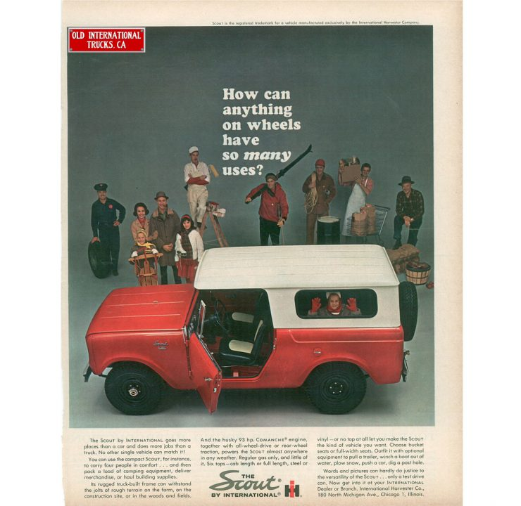 International Harvester Scout Ad Page 740x720 - Essential Buying Guide: International Harvester Scout 80 + 800