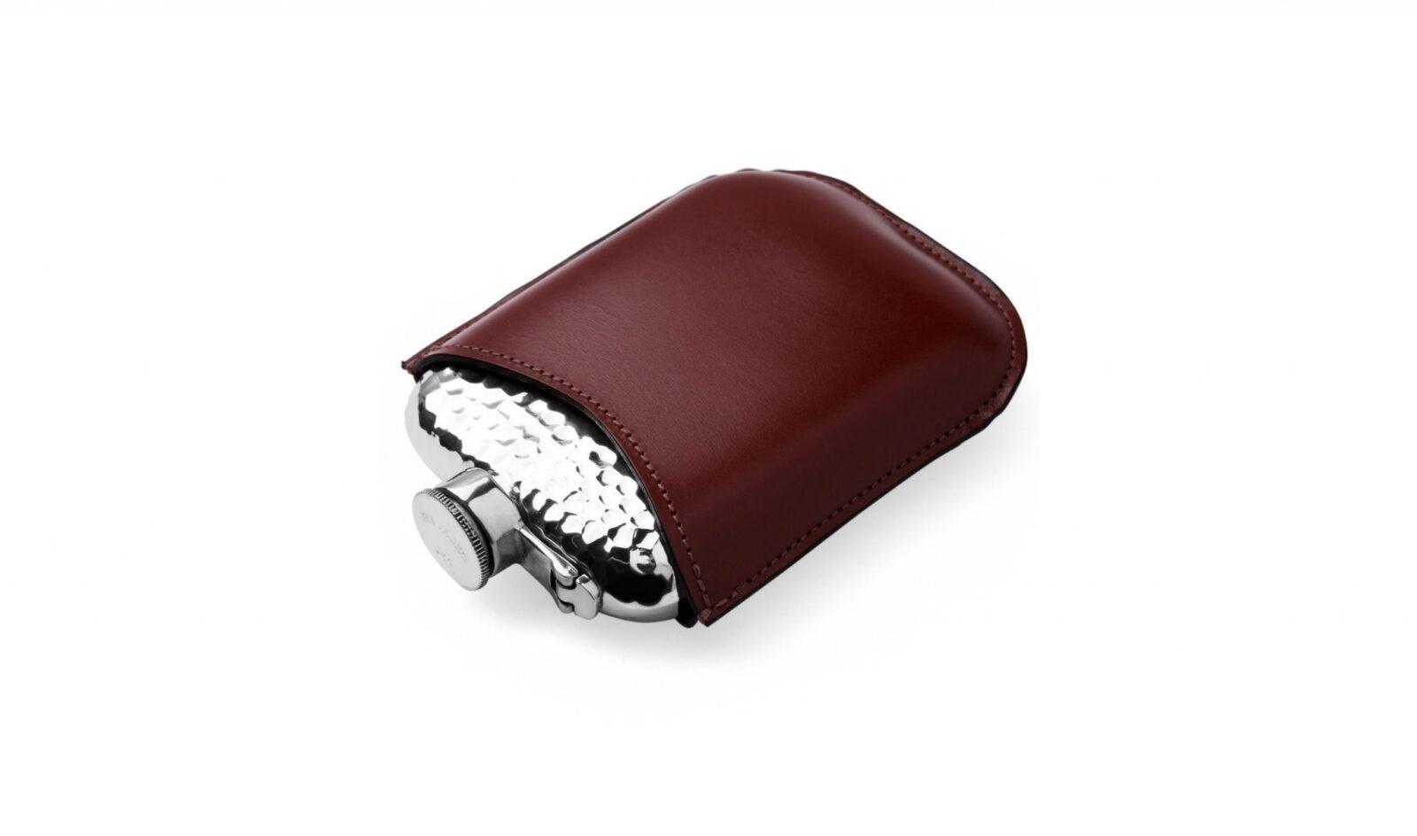 6oz Pewter Hammered Leather Encased Hip Flask 1600x944 - 6oz Pewter Hammered Hip Flask