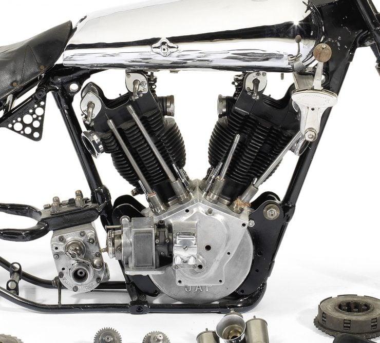 Brough Superior SS100 Pendine Project Bike Engine 740x669 - $100,000 Project Bike: 1929 Brough Superior SS100 Pendine