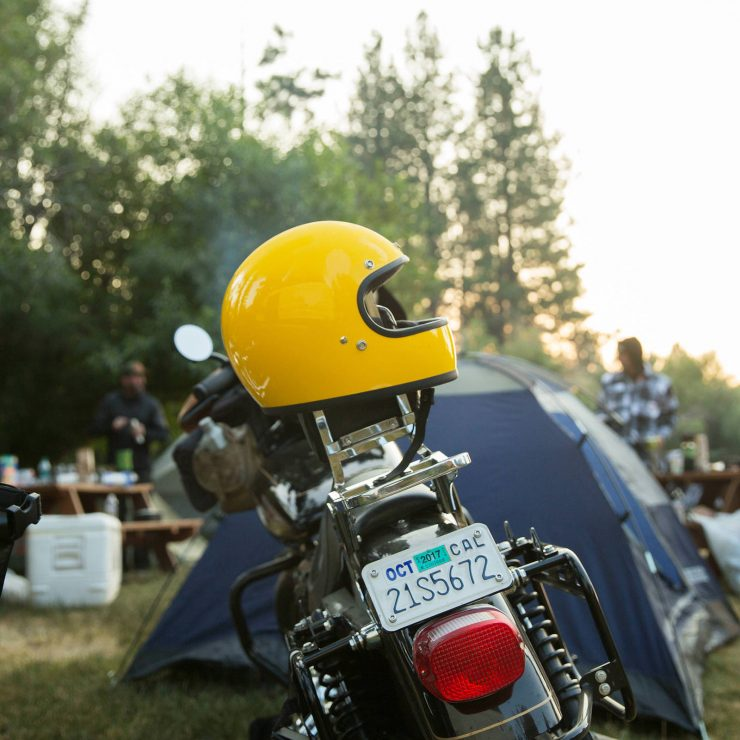 Biltwell Gringo Helmet On Motorcycle 740x740 - Biltwell Gringo Safe-T Yellow Helmet