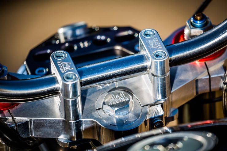 harley davidson tracker motorbike 16 740x493 - Mule Motorcycles - The Midnight Express Harley Tracker