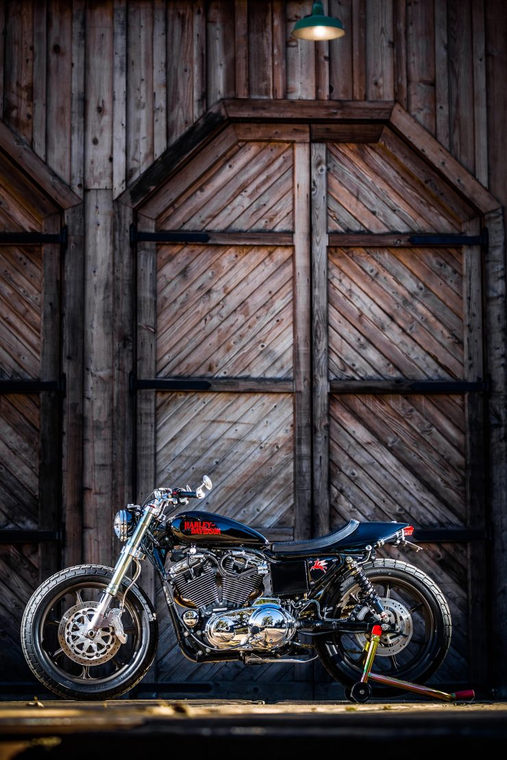 harley davidson tracker motorbike 23 740x1110 - Mule Motorcycles - The Midnight Express Harley Tracker