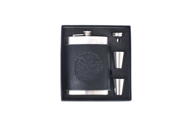Leather flask gift set black low 740x494 - Go Forth & Do Good Flask