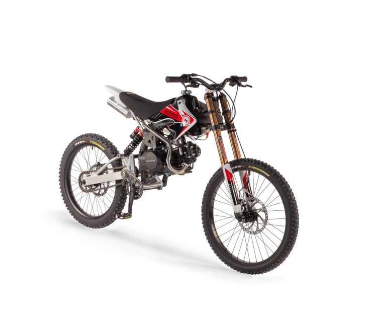 Motoped Pro motorized bicycle Front Side 740x634 - Motoped® Pro