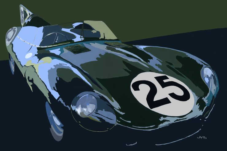 Art of Jean Yves Tabourot D Type Jaguar 740x492 - The Art of Jean-Yves Tabourot