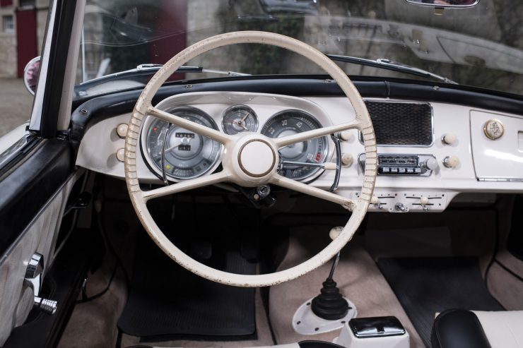 BMW 507 Roadster Steering Wheel 740x493 - 1958 BMW 507 Roadster Series II