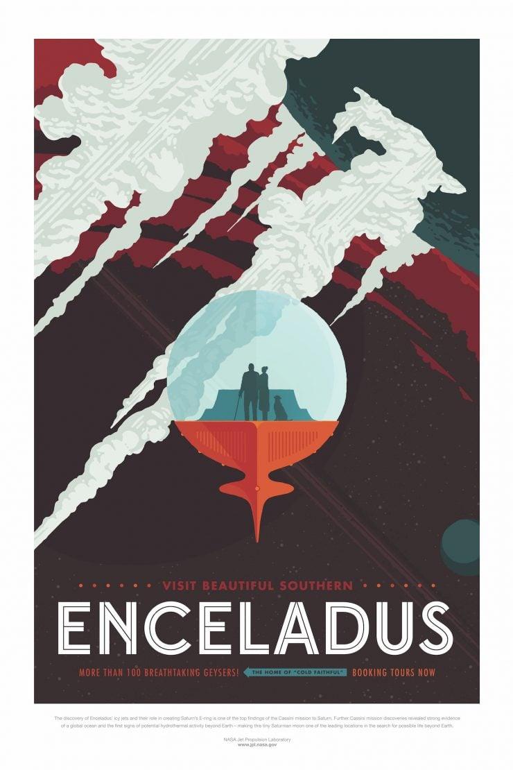 NASA / JPL-Caltech Space Tourism Posters Enceladus