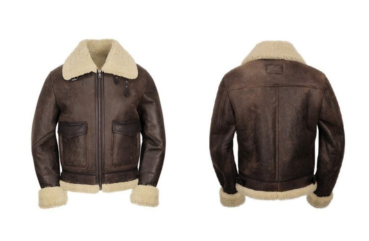Helstons Bombardier Thunder Brown Sheepskin Jacket Front And Back