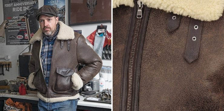 Helstons Bombardier Thunder Brown Sheepskin Jacket