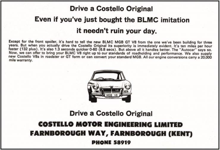 Ken Costello V8 MGB Ad