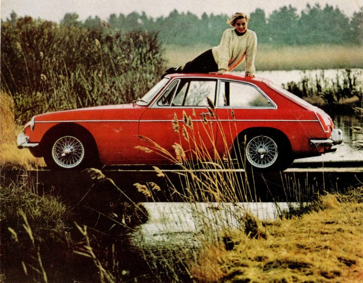 MGB GT Lady On Roof