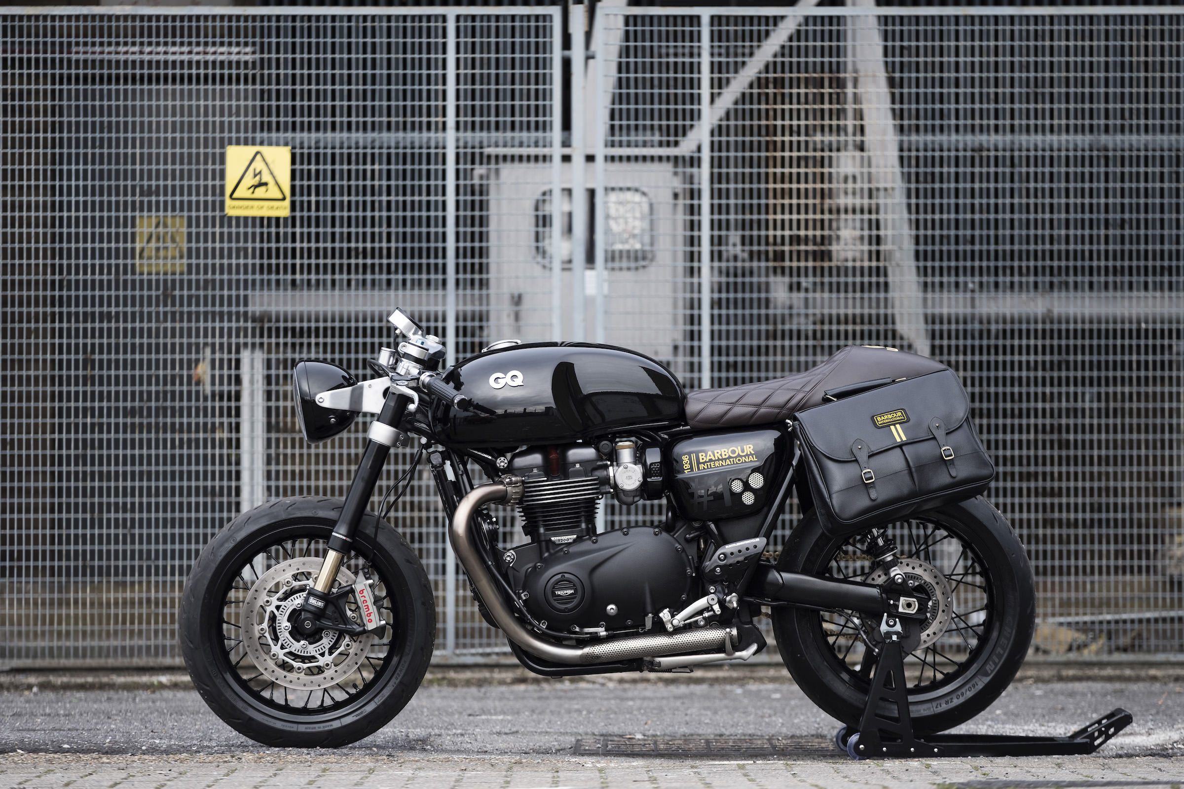 the gq x barbour x untitled motorcycles triumph thruxton 1200 r. Black Bedroom Furniture Sets. Home Design Ideas