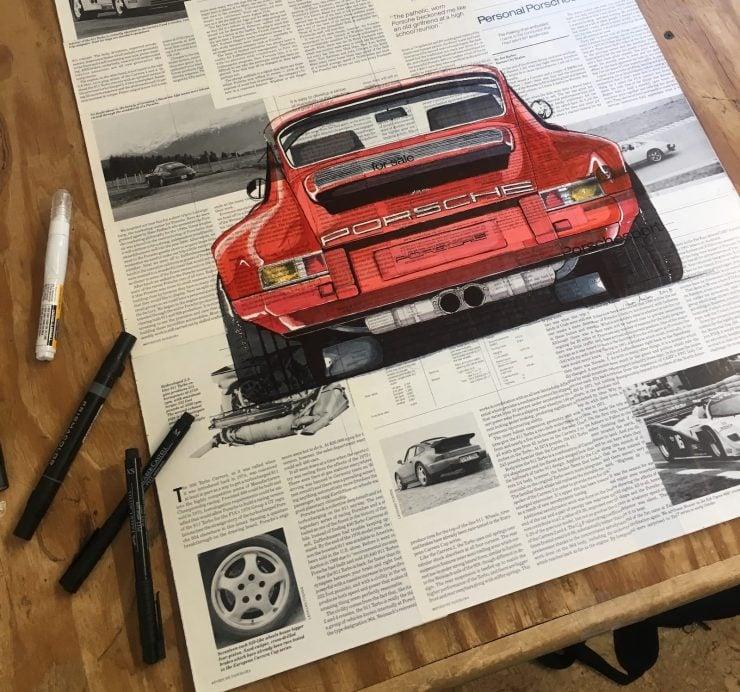 Art of Adam Ambro Porsche 911 Drawing 2 740x692 - The Art of Adam Ambro